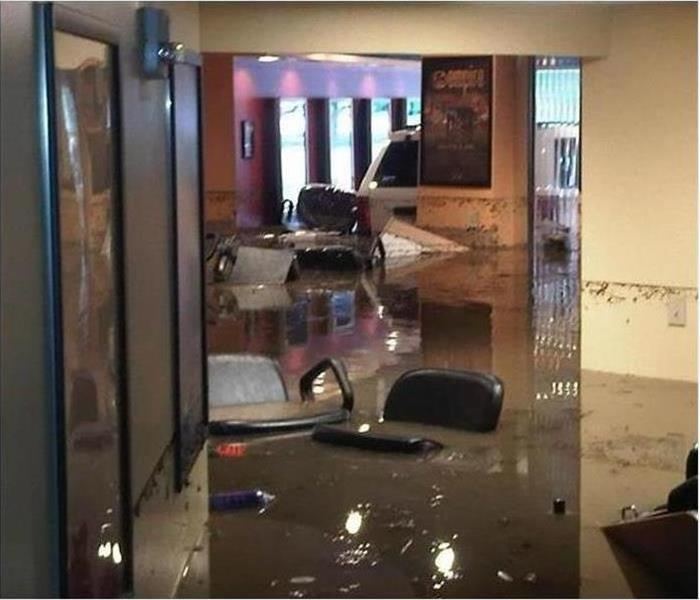 Inside of a home flooded by storm
